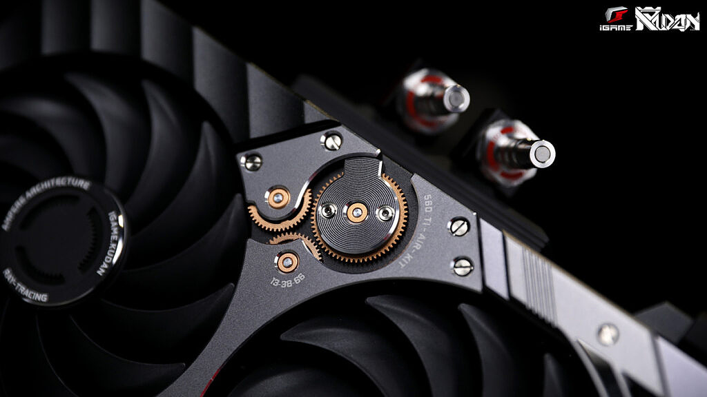 Close up of Colorful iGAME KUDAN RTX 3090 graphics card
