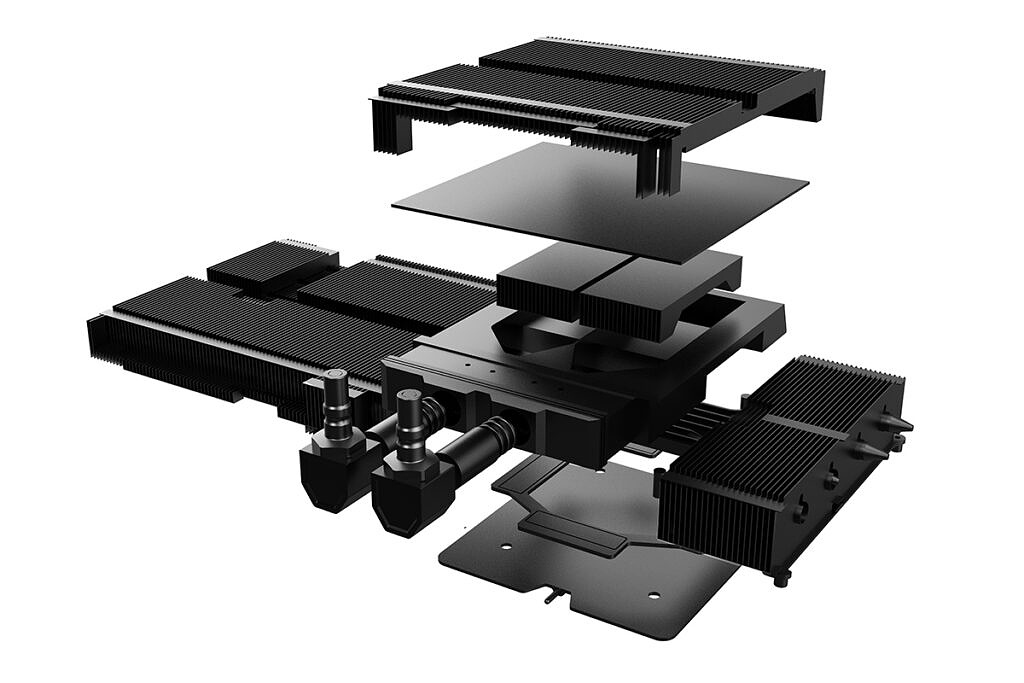 Exploded view of Colorful iGAME KUDAN RTX 3090 graphics card