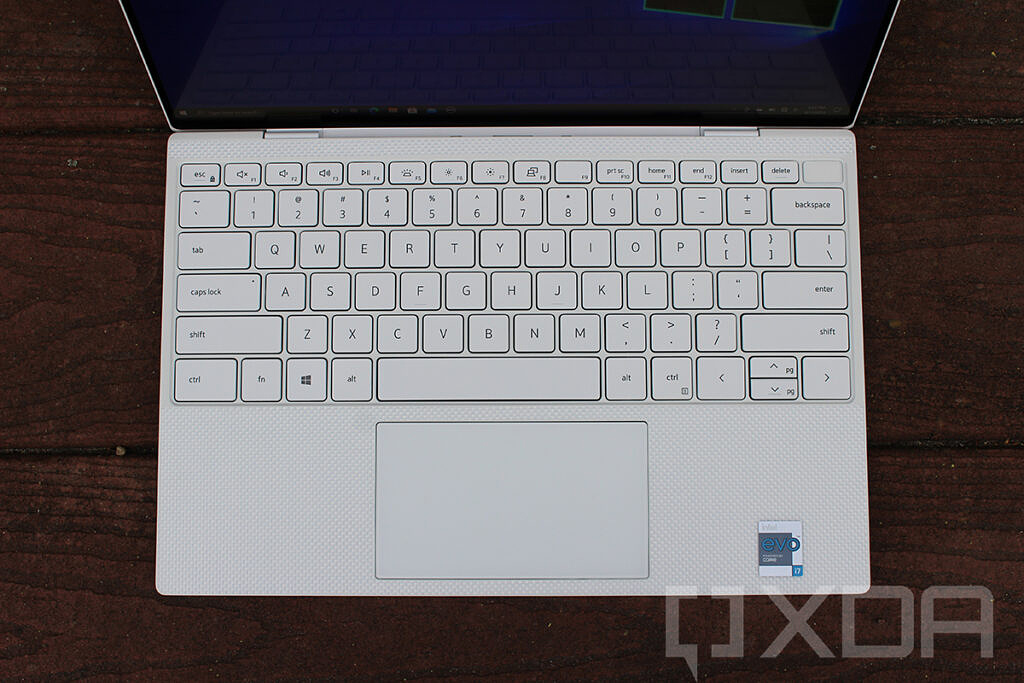 Top-down view of Dell XPS 13 keyboard