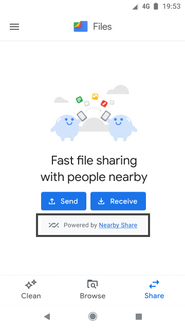 File transfers in Files by Google powered by Nearby Share