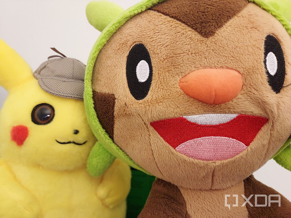 Chespin and Pikachu plushes