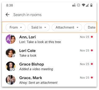 Google Chat search chips