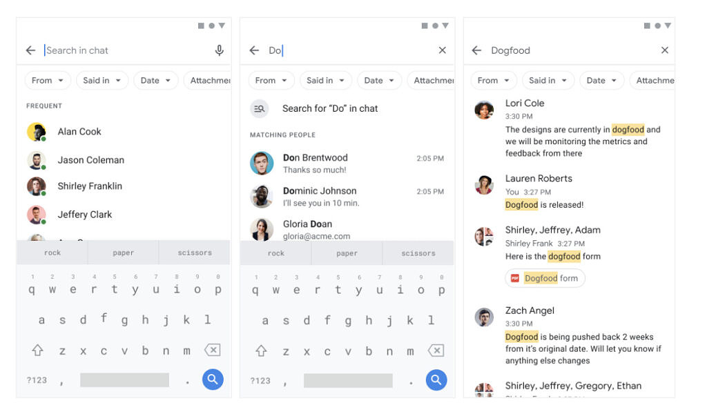 Google Chat search chips 2