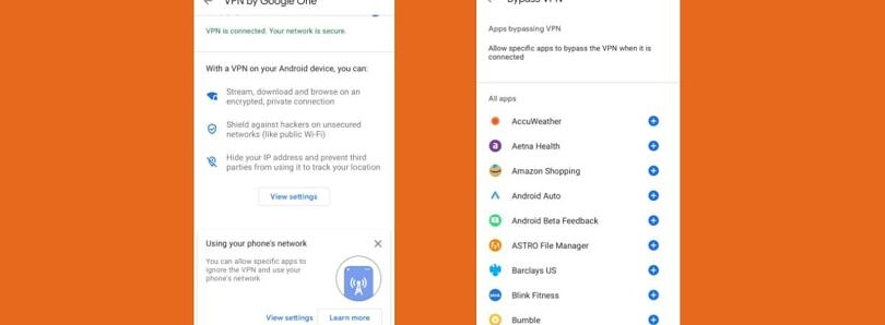Google One now lets you pick which apps can bypass its VPN