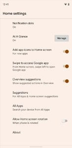 Pixel Launcher settings manage At a Glance