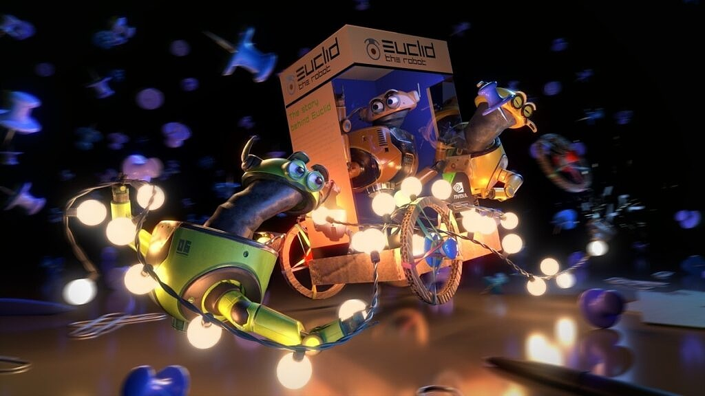 A 3D render featuring toys and lights illuminating them with real-time ray tracing