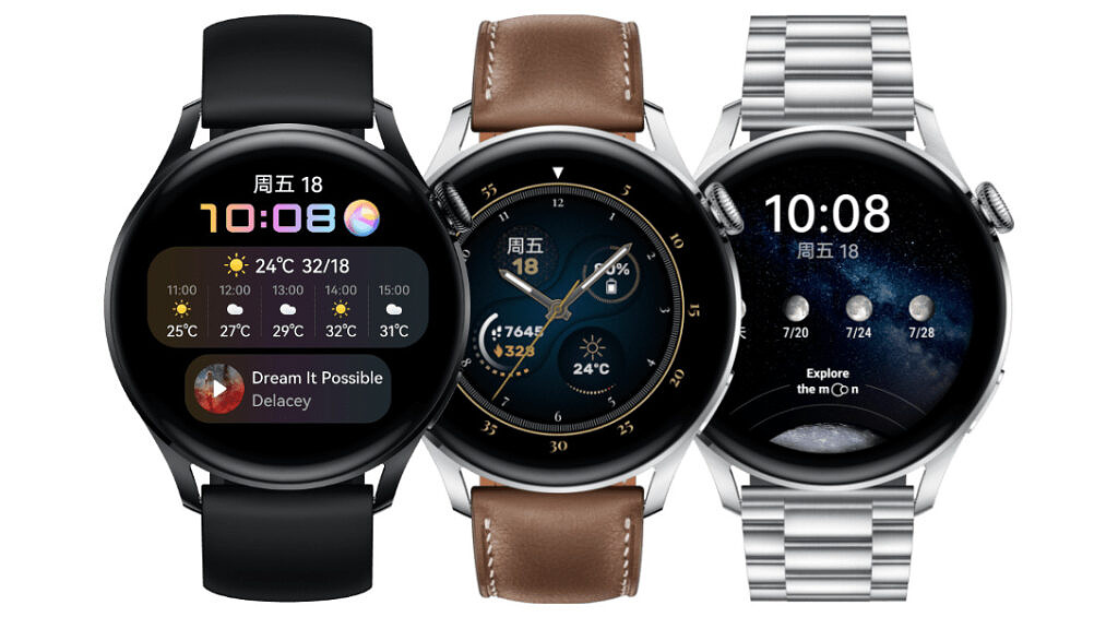 Huawei Watch 3 shown in three variants. From the right: Silicone variant, Leather variant and stainless steel model.