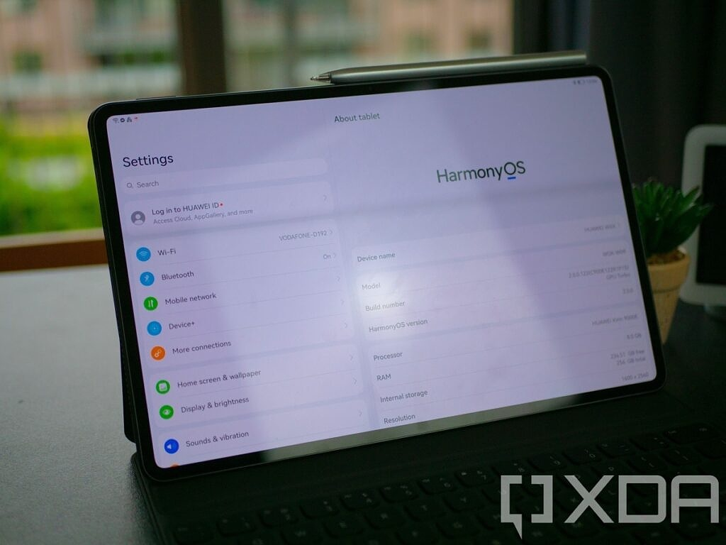 """The """"about tablet"""" section in the settings of the Huawei MatePad Pro, showing the HarmonyOS logo."""