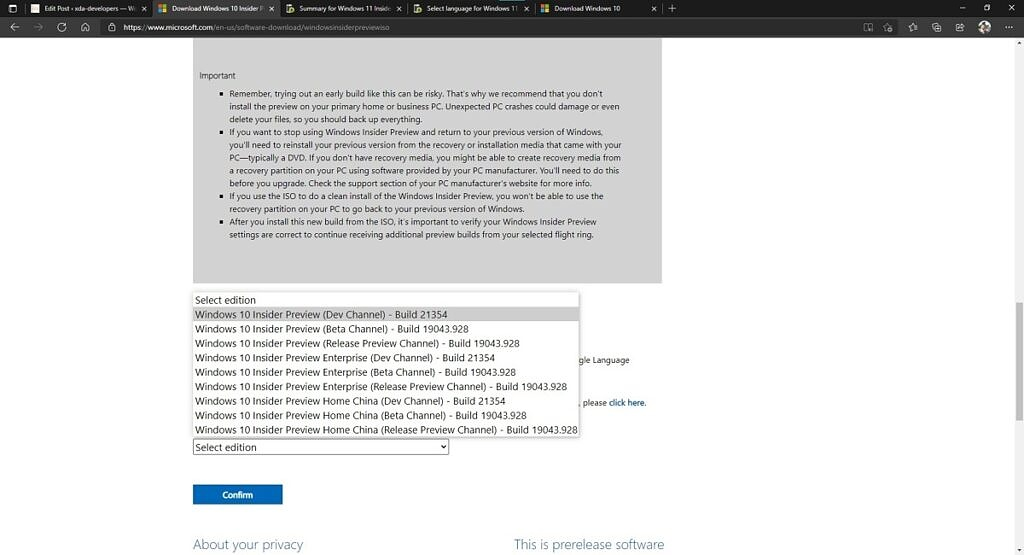 Windows Insider website showing language options for downloading ISOs