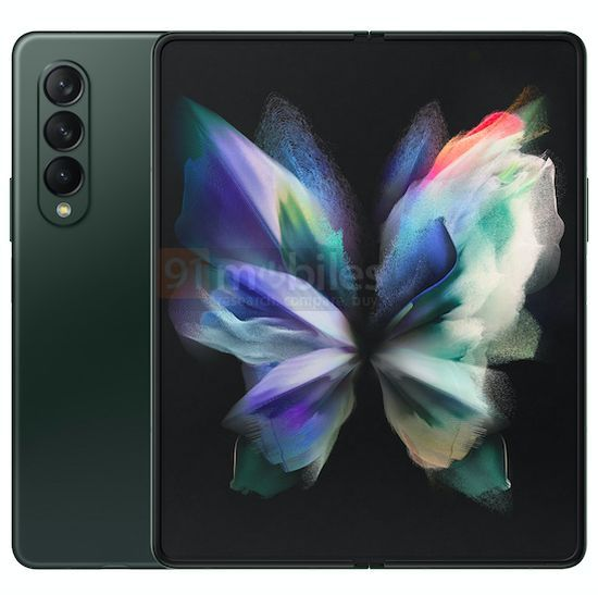 Green Galaxy Z Fold 3 leaked render front and back