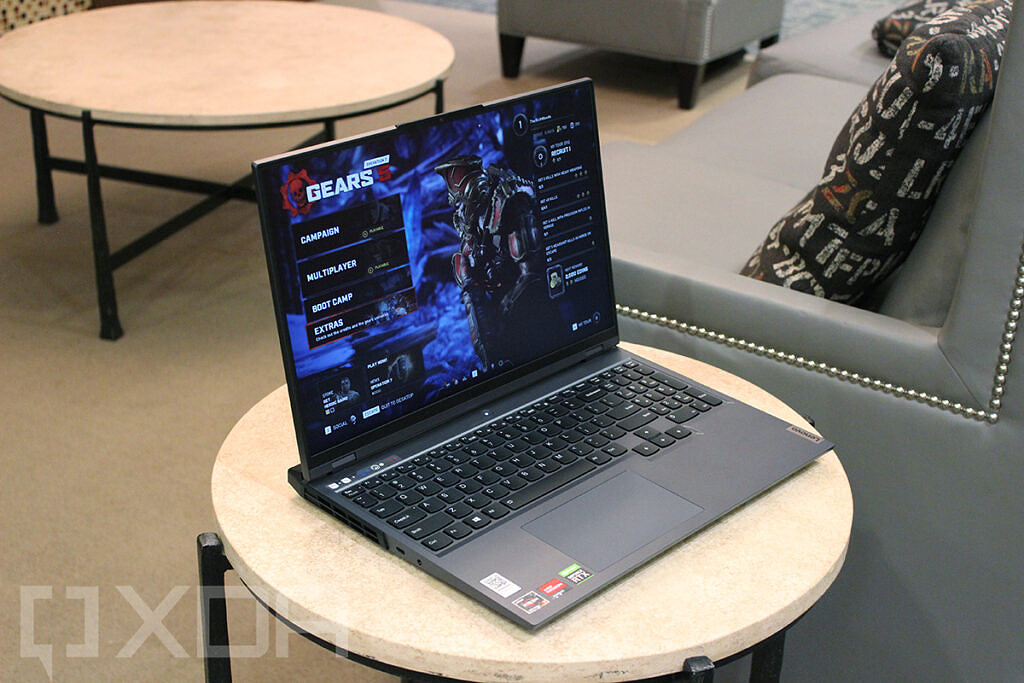 Angled view of laptop with Gears 5 loaded