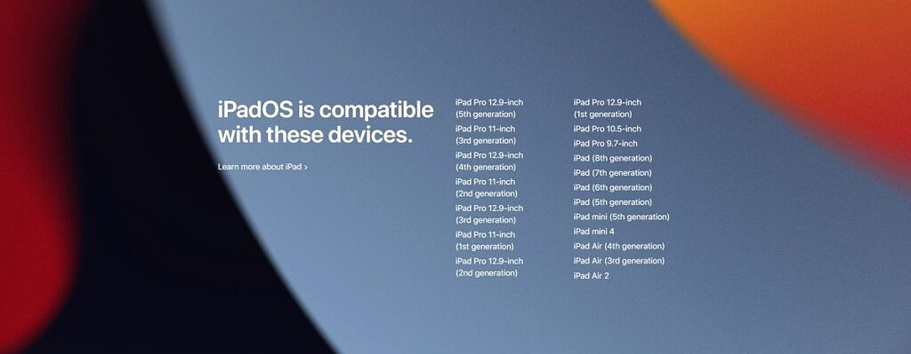 List of iPad models compatible with iPadOS 15
