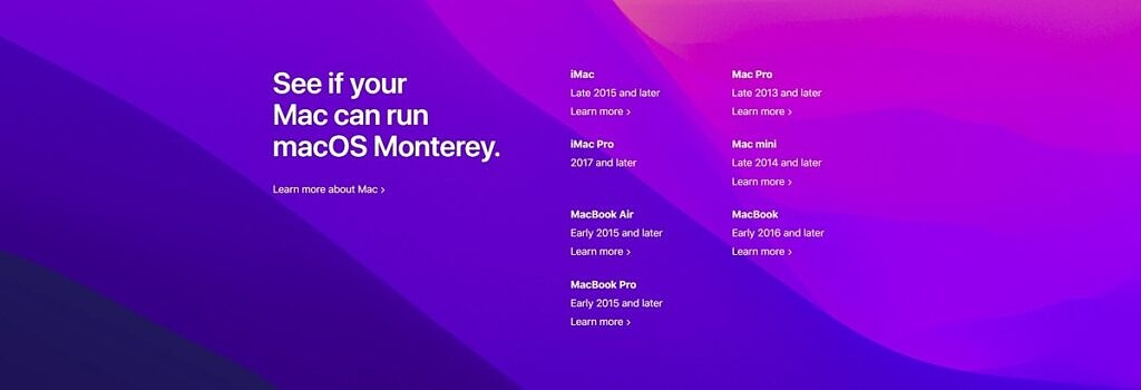 Macs compatible with Monterey