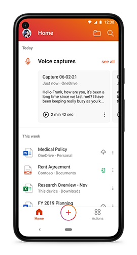 Voice captures shown at the top of the home tab on Microsoft Office for Android