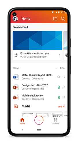 Microsoft Office for Android Home page