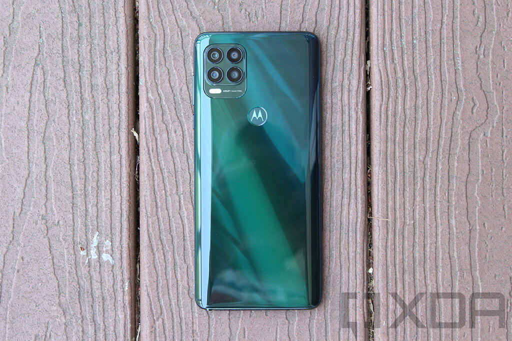 Top down view of Moto G Stylus 5G on wood background