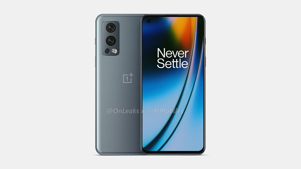 Gray OnePlus Nord 2 leaked render front and back
