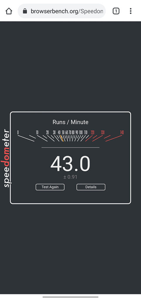 Speedometer 2.0 result for the OnePlus Nord CE 5G