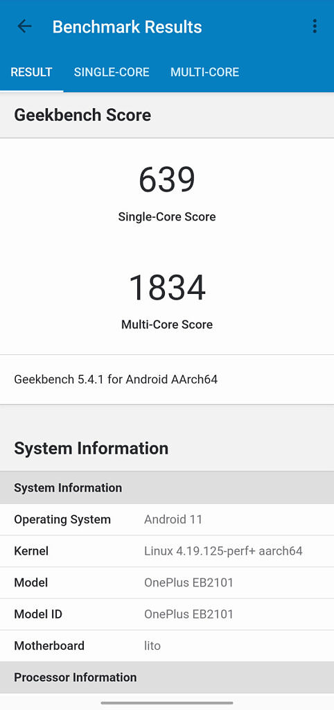 Geekbench 5 result for the OnePlus Nord CE 5G