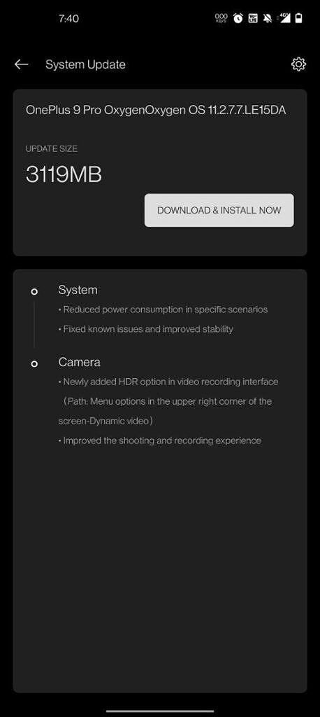 Update prompt for OxygenOS 11.2.7.7 on a OnePlus 9 Pro