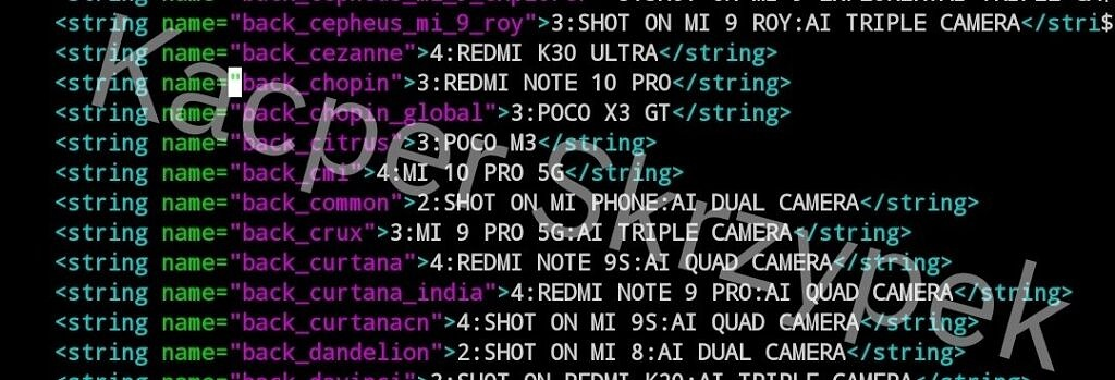MIUI code referencing POCO M3 Pro 5G and Redmi Note 10 Pro Chinese model