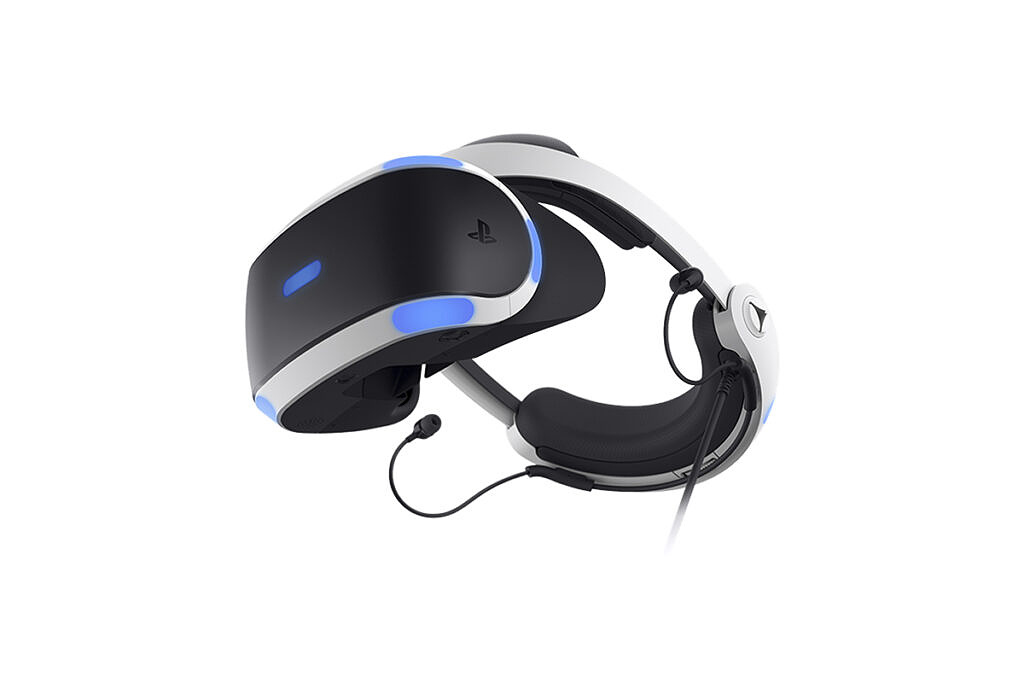 PlayStation VR headset on white background
