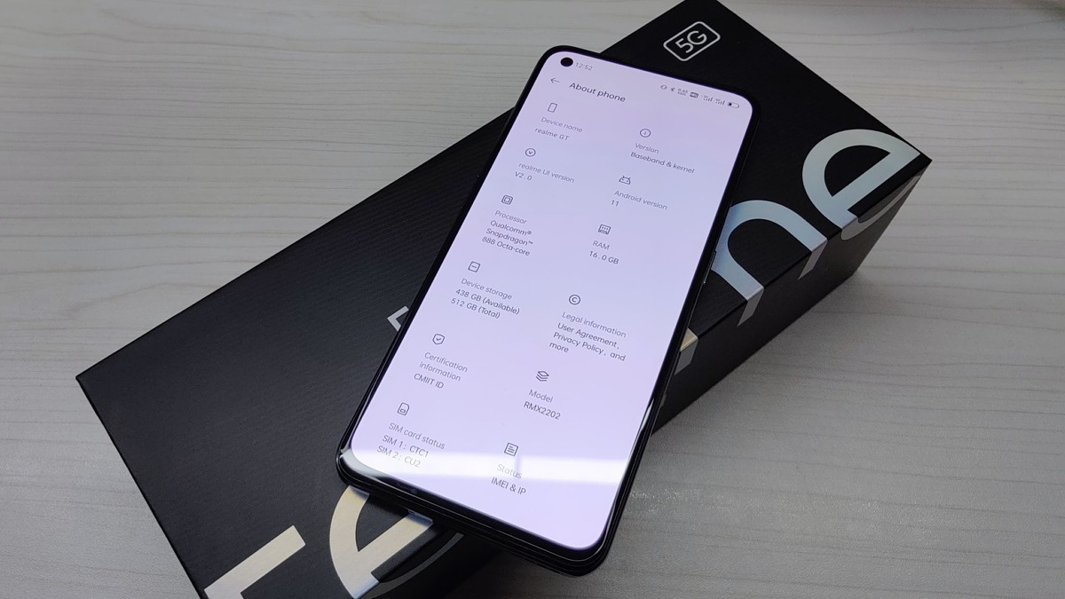 Front of the Realme GT leather edition