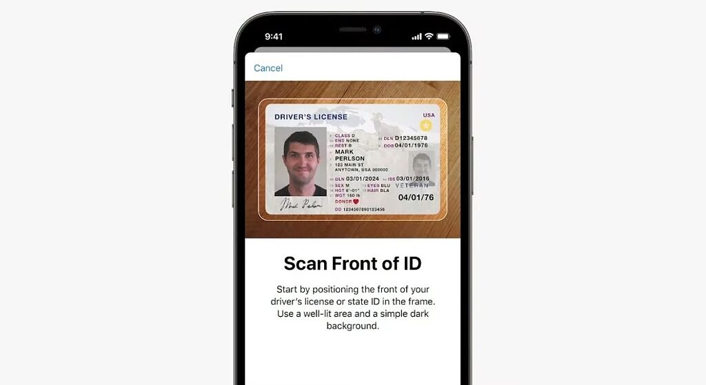 Scanning an ID into the Apple Wallet on iOS 15
