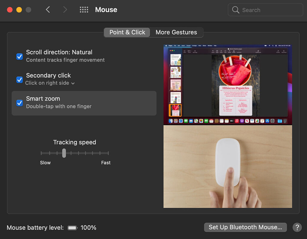 Adjusting Magic Mouse swipe and touch controls in the iMac's settings