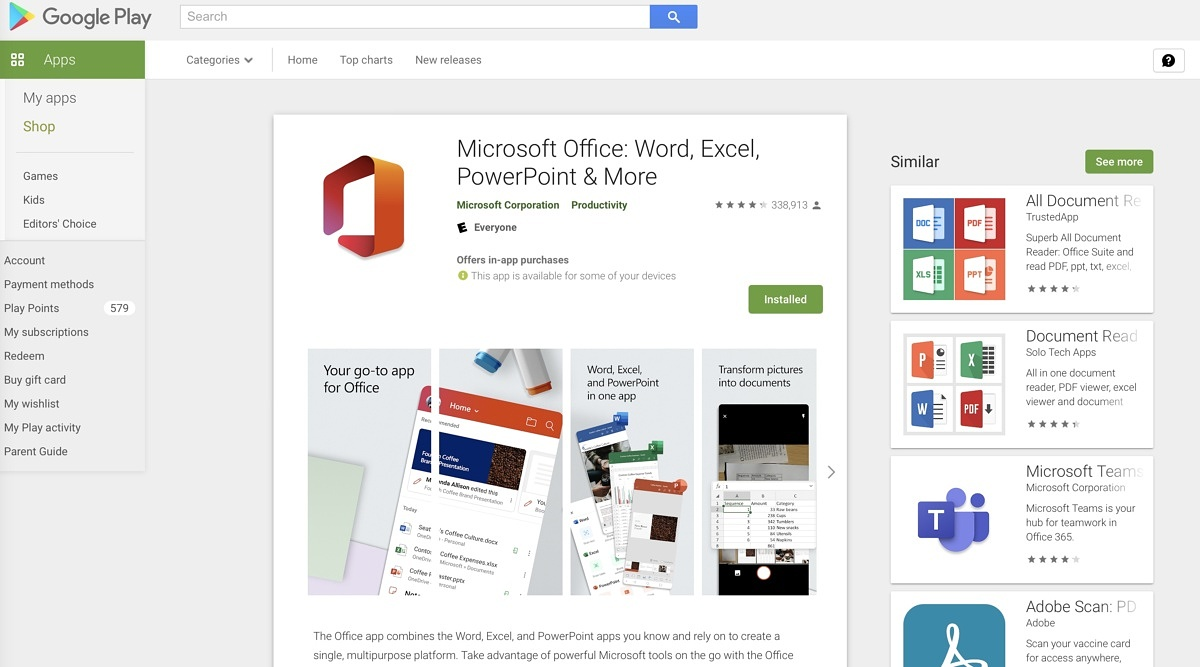 This screenshot shows Microsoft Office install page for Android.