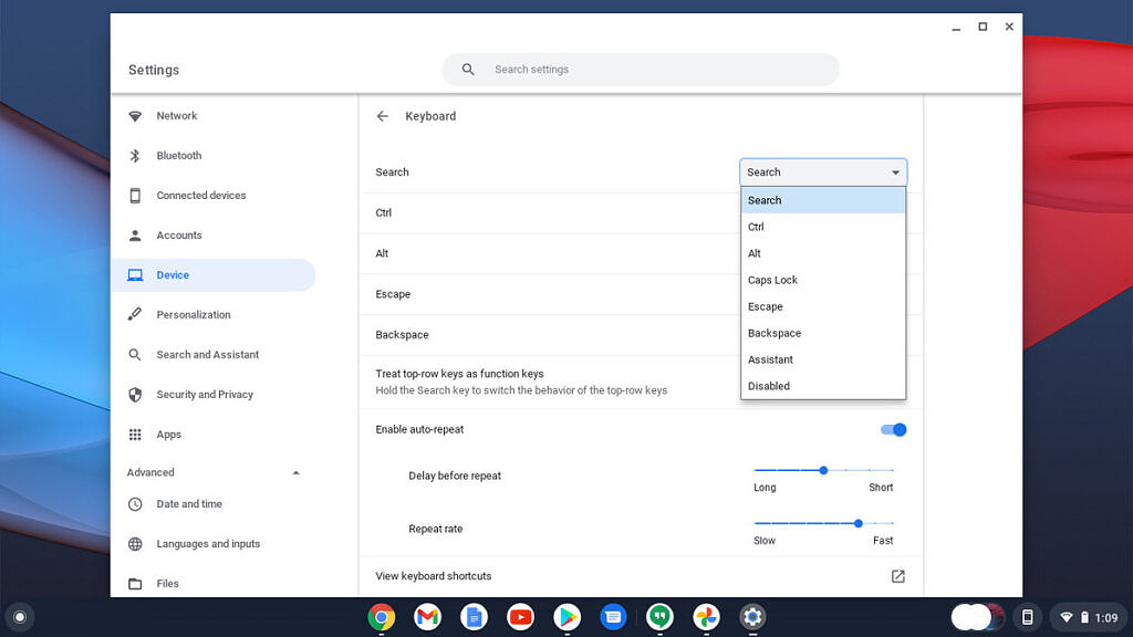 remap keys for capitalization in Chrome OS