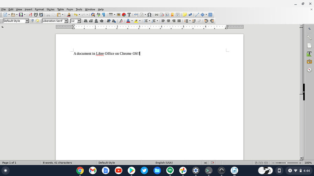 Libre Office running on a Chromebook