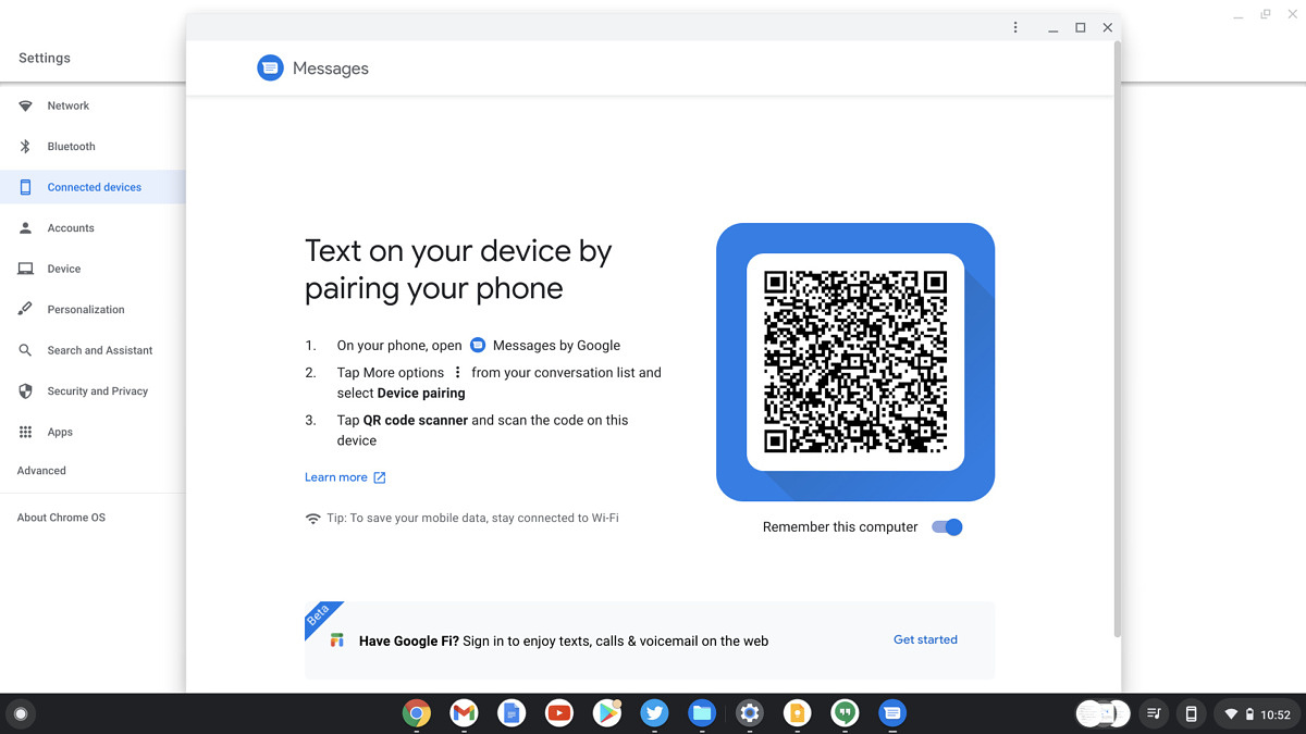 Messages QR code to link Chrome and Android