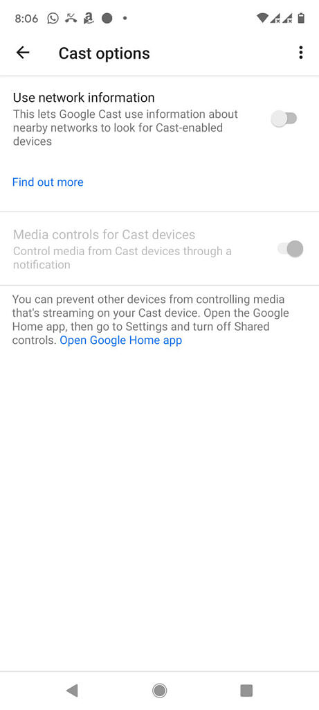 Cast options in Google Play Services