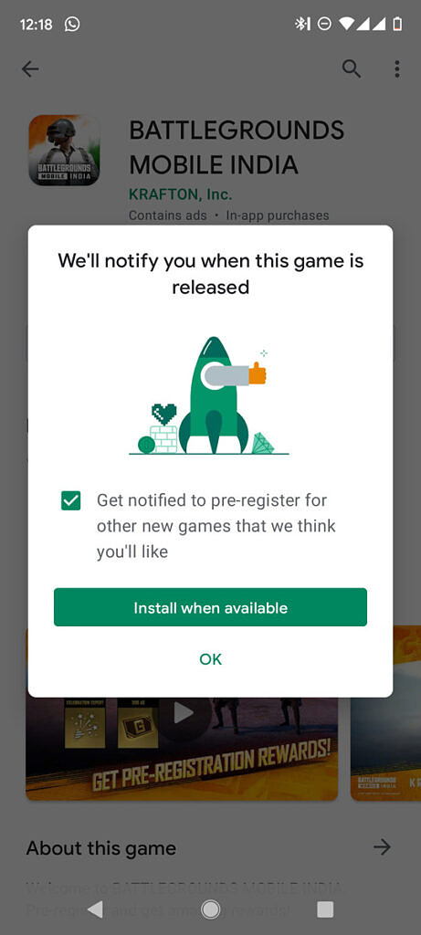 Battlegrounds Mobile India Google Play Store Early Access
