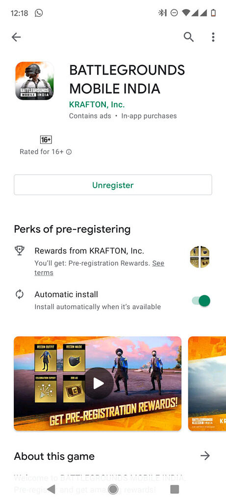 Battlegrounds Mobile India Google Play Store listing