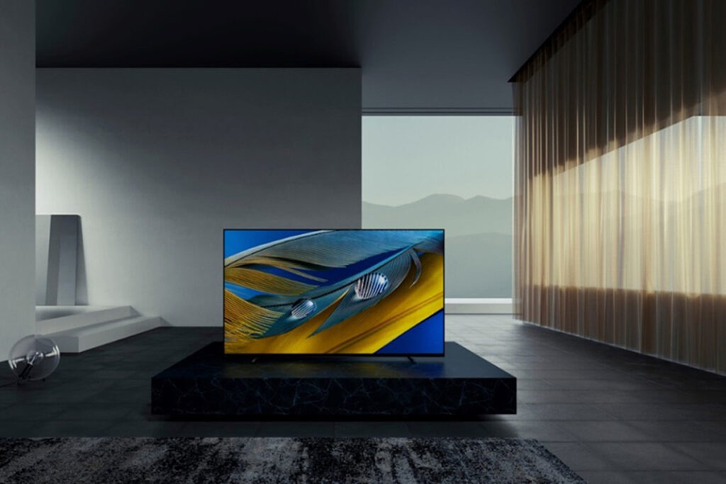 Sony Bravia A80J on a center table in a modern living room
