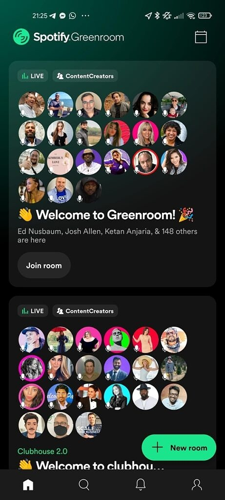 Spotify Greenroom's home page