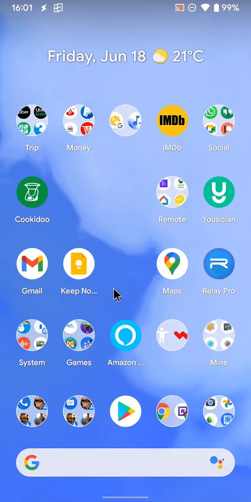 Android 12 home screen