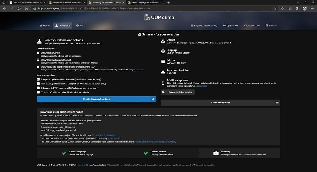 Final confirmation page for downloading Windows 11 ISO generator from UUP Dump