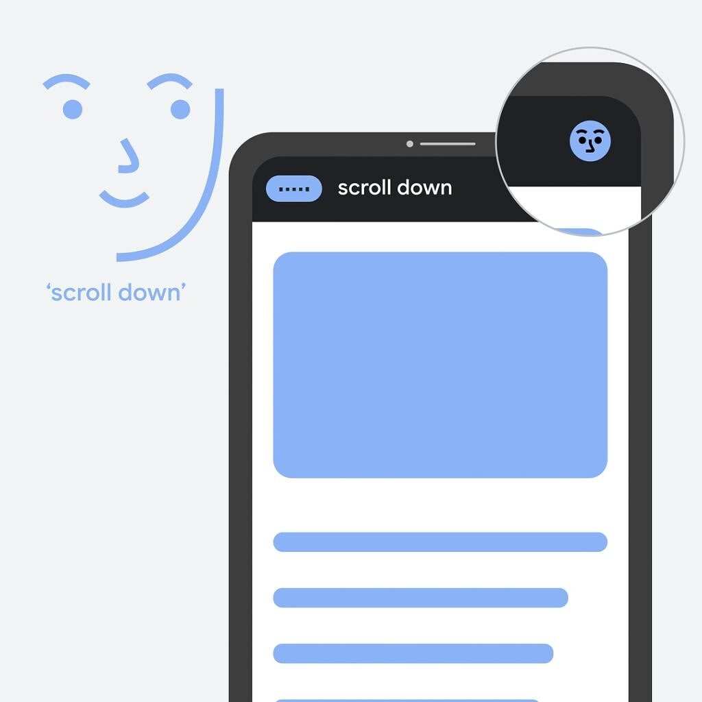 Voice Access app screen with gaze detection turned on