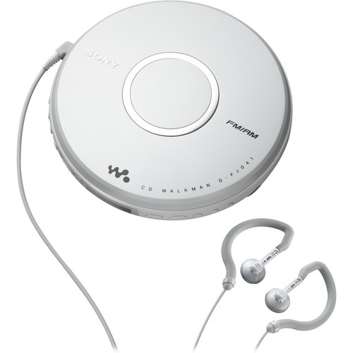 Sony Walkman with wired earphones on a white background