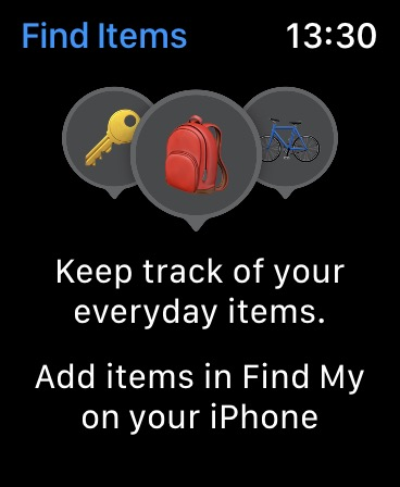 Find Items using Apple Watch