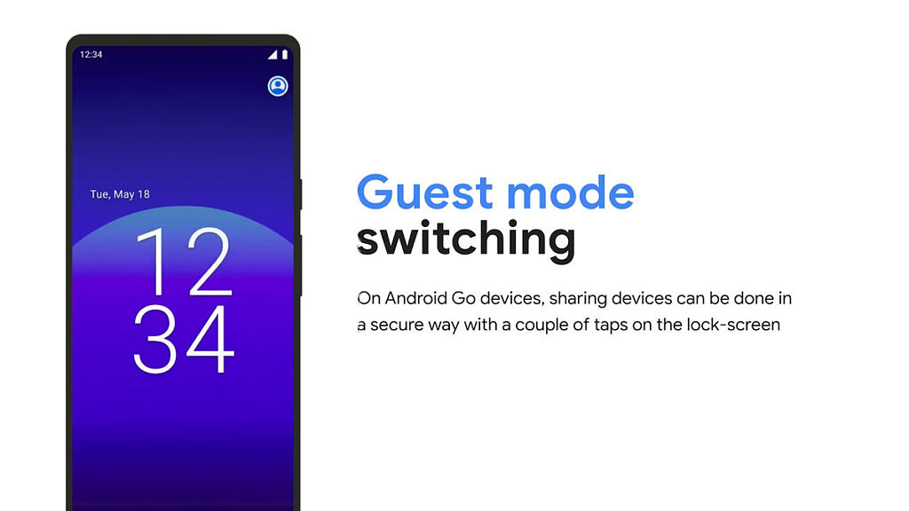 Guest mode logo on the lockscreen of an Android Go phone