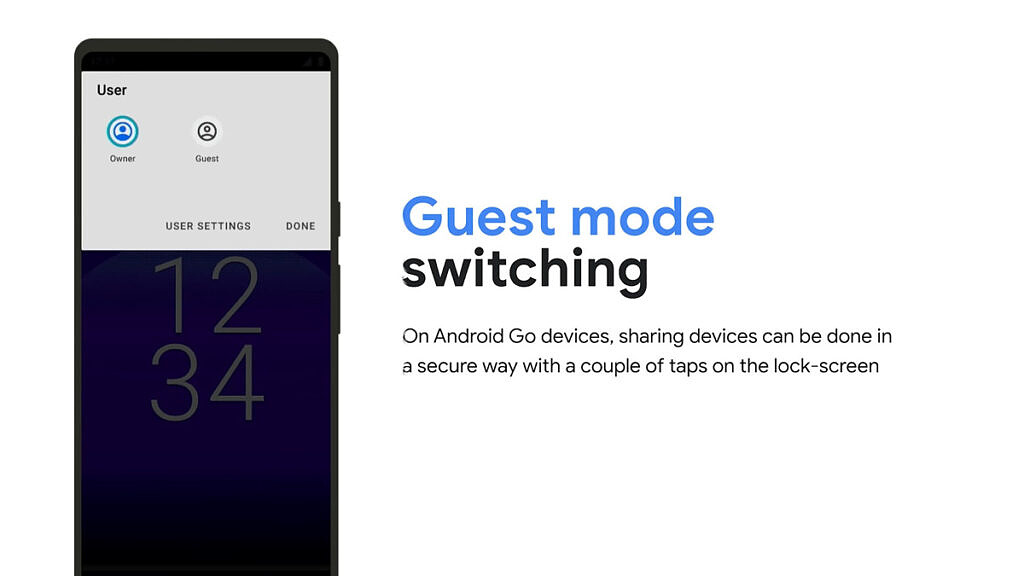 Guest mode pop up menu on the lockscreen of an Android Go smartphone