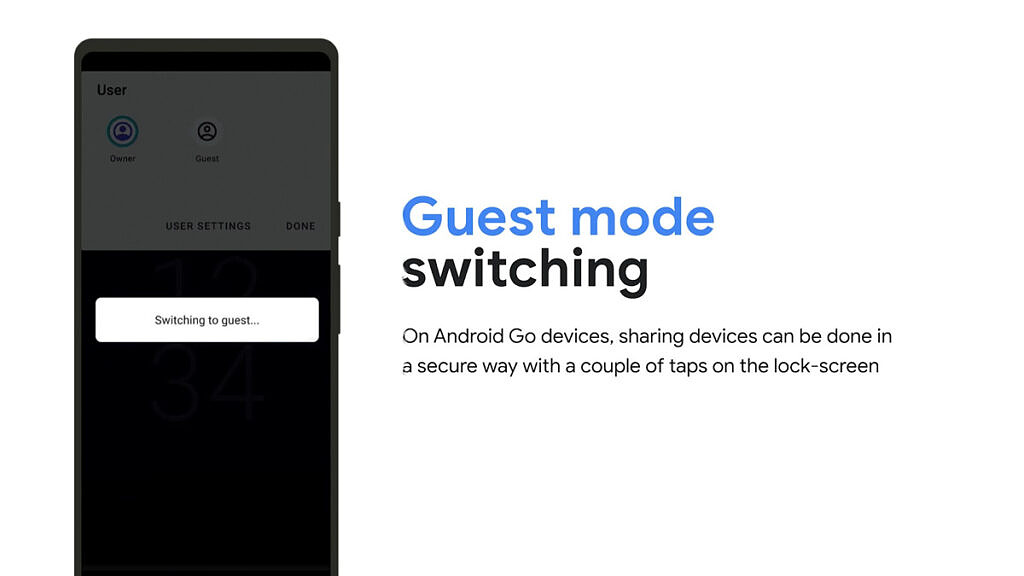 An Android Go phone switching to guest mode