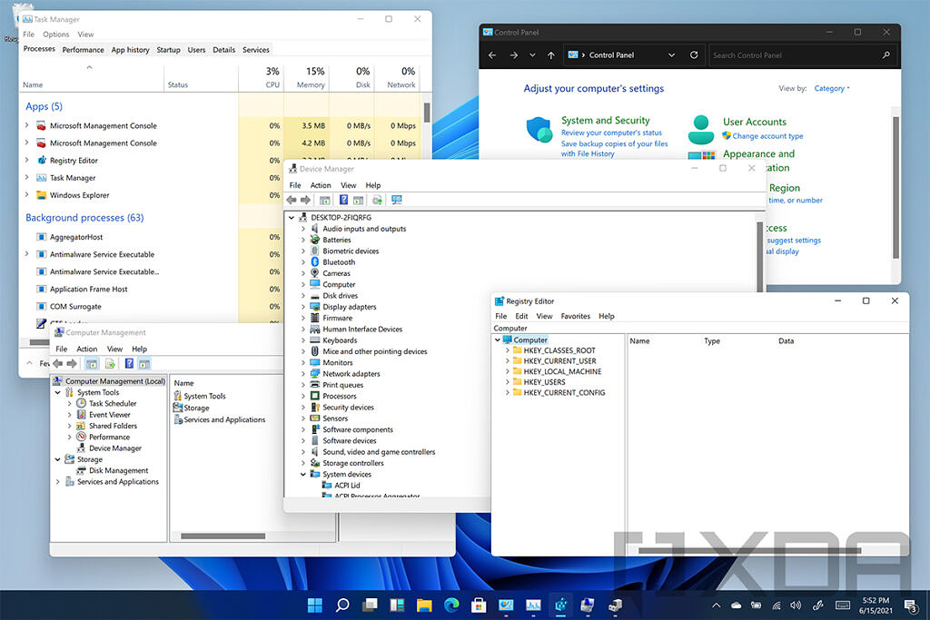 Windows 11 with legacy software like Registry Editor, Control Panel, Device Manager, and more