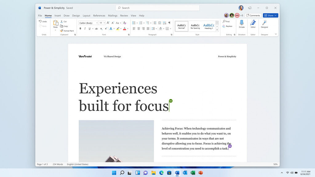 Collaborating in Word on Windows 11