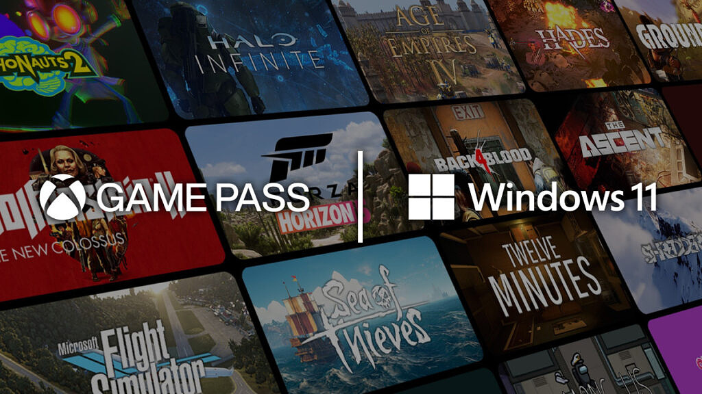 Windows 11 and Xbox Game Pass with games in background