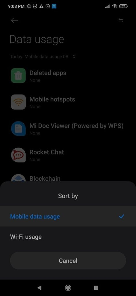 Xiaomi Switching from Mobile to Wi-Fi Data